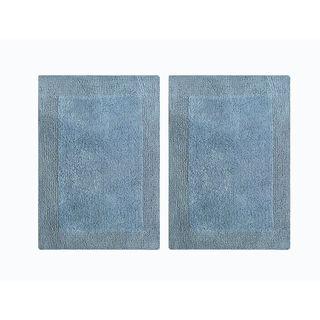 "Splendor Reversible 2-Piece Step Out Bath Mat Set - Blue 17x24"""