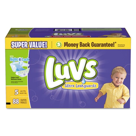 Luvs Diapers with Leakguard Size 5 27 to 35 -pound 88/Carton