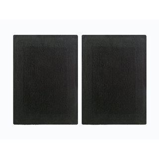 """Splendor Reversible 2-Piece Step Out Bath Mat Set - Black 14x24"""""""