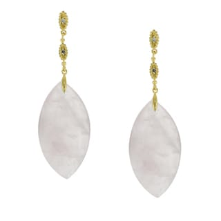 One-of-a-kind Michael Valitutti 14K Yellow Gold Marquise Rose Quartz and Diamond Earrings
