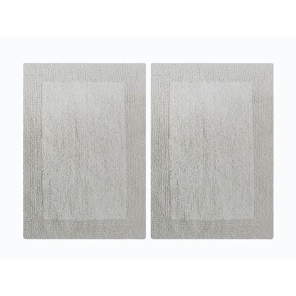 "Splendor Reversible 2-Piece Step Out Bath Mat Set - White 17x24"""