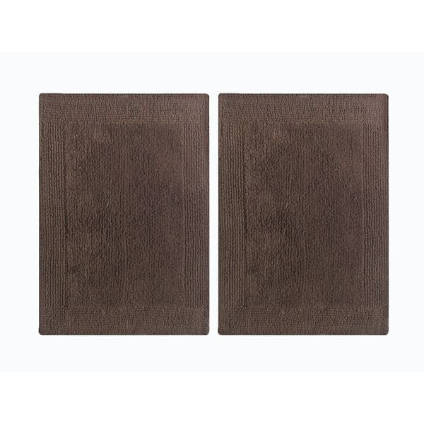 "Splendor Reversible 2-Piece Step Out Bath Mat Set - Brown 17x24"""