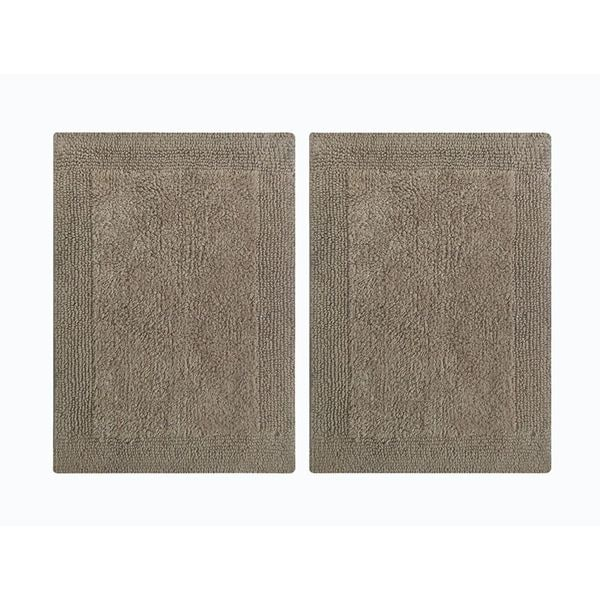 Splendor Reversible 2-Piece Step Out Bath Mat Set - Beige 17x24""