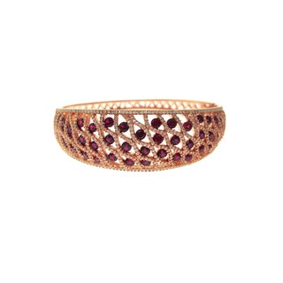 Rose Vermeil Red and White Cubic Zirconia Bangle