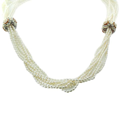 """One-of-a-kind Michael Valitutti Palladium Silver Flower Cameo Seed 32"""" Pearl Strands Necklace"""