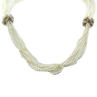 "One-of-a-kind Michael Valitutti Palladium Silver Flower Cameo Seed 32"" Pearl Strands Necklace"
