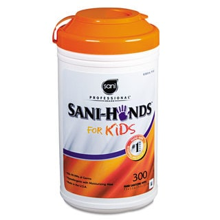 Sani Professional Hands Instant Sanitizing Wipes for Kids 5 x 7 1/2 White 300/Pack 6 Packs/Carton