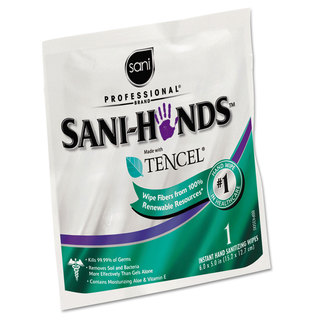 Sani Professional Sani-Hands Sanitizing Wipes with Tencel White 5 x 7 3/4 3000 Packets/Carton