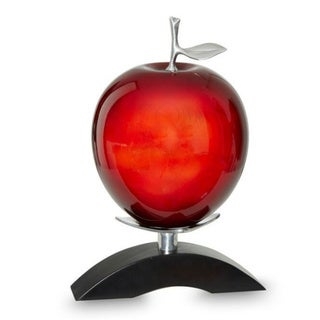 DW Red Wood Pewter Apple with Stand