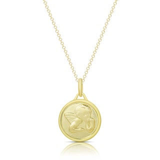 Dolce Giavonna Gold Over Silver or Sterling Silver Circle Angel Necklace