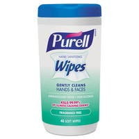 PURELL Hand Sanitizing Wipes 5.7 x 7 1/2 Fragrance Free 40/Canister 6/Carton