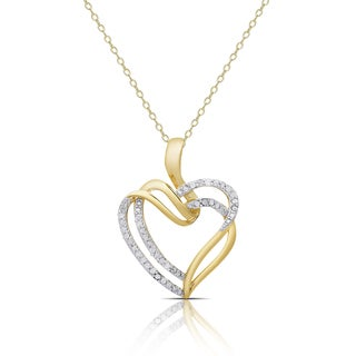 Finesque Gold Over Silver or Sterling Silver 1/4Ct TDW Diamond Double Heart Necklace