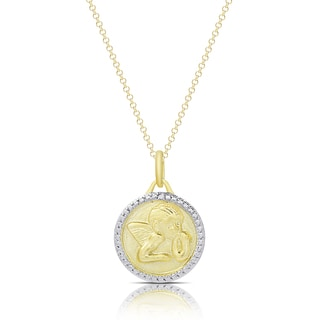 Finesque Gold Overlay Diamond Accent Circle Angel Necklace