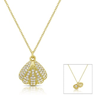 Dolce Giavonna Gold or Silver Overlay Cubic Zirconia Seashell Pearl Necklace