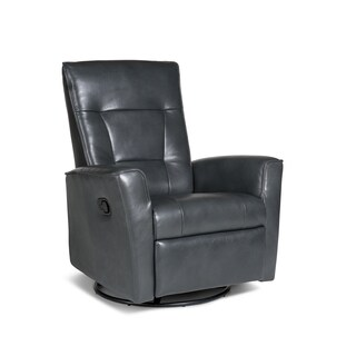 Auckland Leather Swivel Glider Recliner in Victoria Steel