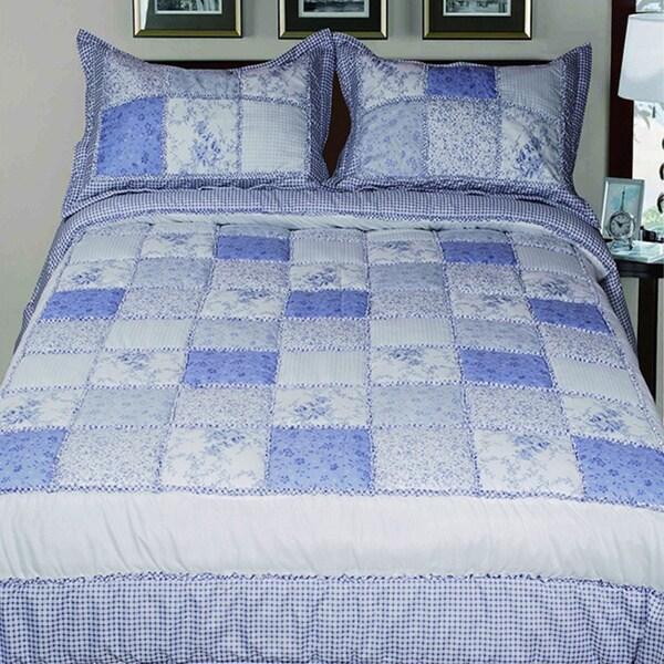 Livingston Home 3-Piece Queen Diamond-Quilted Comforter Set