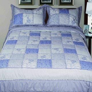 Livingston Home 3-Piece Queen Diamond-Quilted Comforter Set