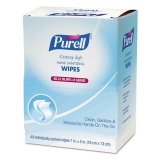 PURELL Cottony Soft Individually Wrapped Hand Sanitizing Wipes 5-inch x 7-inch 480 Sheets/Carton