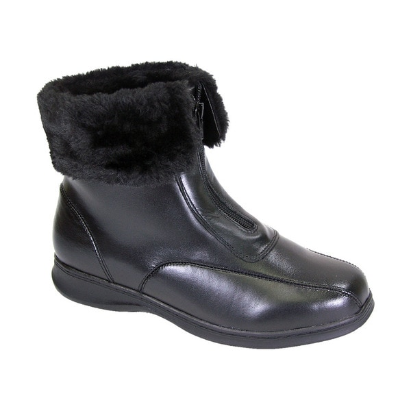 f62e4ca20 Fic Peerage Lana Women Black Leather and Fleece Extra-wide Casual Ankle  Boots