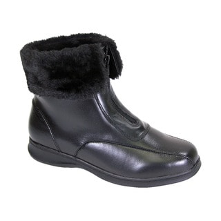 Fic Peerage Lana Women Black Leather and Fleece Extra-wide Casual Ankle Boots