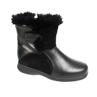 FIC PEERAGE Bryn Women Extra Wide Width Fleece Lined Comfort Leather Booties
