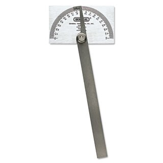 General Pivot-Arm Square-Head Steel Protractor 3 3/8 inches x 2 inches Head 6 inches Arm