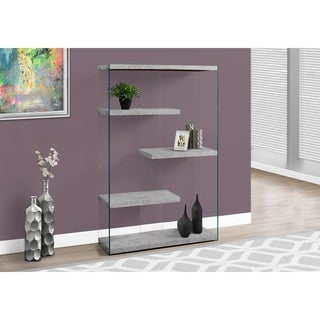 Grey Cement/Tempered Glass 60-inch Bookcase