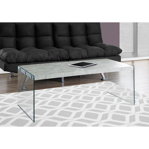 Grey Cement/Tempered Glass Modern Coffee Table