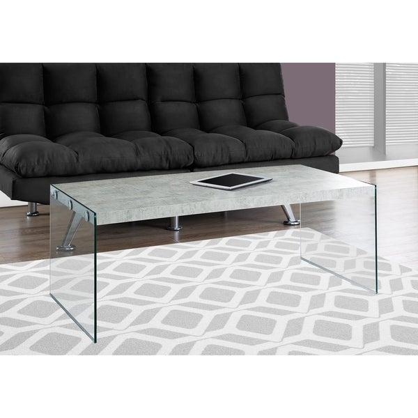 Johannesburg Coffee Table Modern Features: Shop Grey Cement/Tempered Glass Modern Coffee Table
