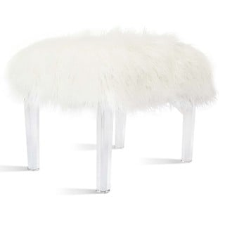 Scarlett White Faux Fur Acrylic Base Stool