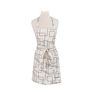 Modernist White Print Cotton Butcher's Apron