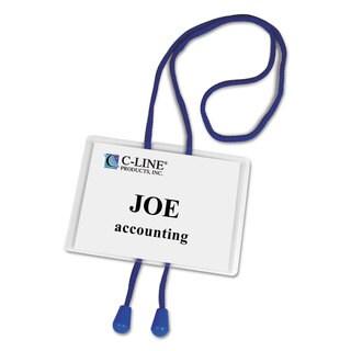 C-Line Name Badge Kits Top Load 4 x 3 White Blue Bolo Cord 25/Box