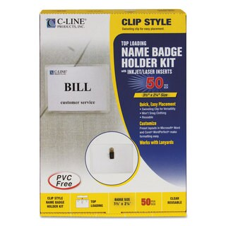 C-Line Name Badge Kits Top Load 3 1/2 x 2 1/4 Clear 50/Box