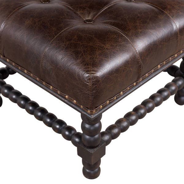 Fine Shop Handmade Button Tufted Bobbin Leg Ottoman India Gmtry Best Dining Table And Chair Ideas Images Gmtryco