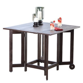 Merry Products Brown Eucalyptus Wood Folding Square Table