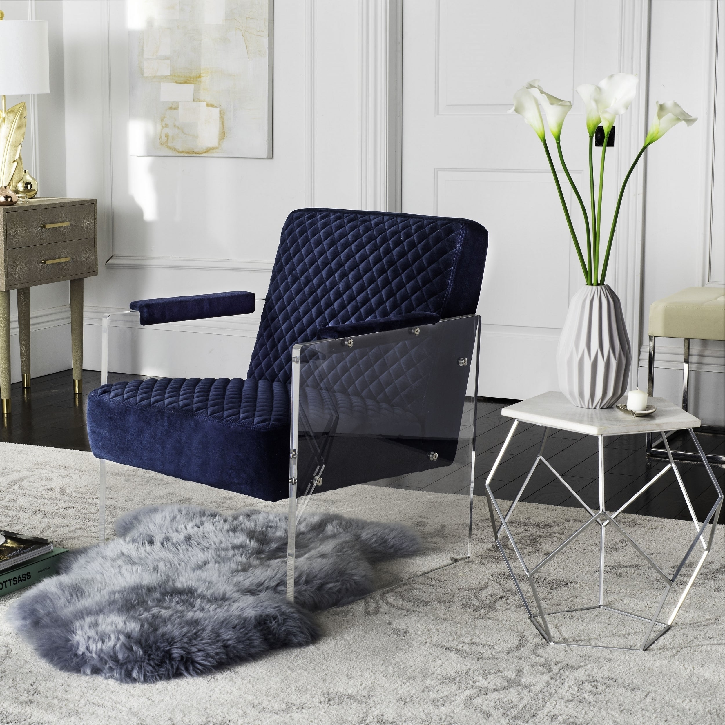 Details About Safavieh Couture High Line Collection Malena Navy Blue  Acrylic Arm Chair