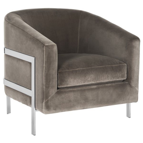 Safavieh Couture Vernon Glam Grey Velvet Commercial Grade Club Chair. Opens flyout.