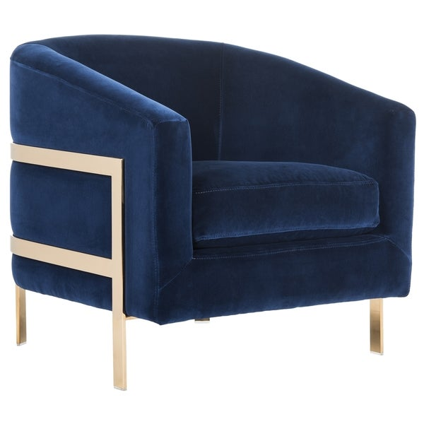 Safavieh Couture High Line Collection Vernon Navy Velvet Glam Club Chair