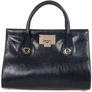 Jimmy Choo Riley Medium Croc Embossed Navy Blue Leather Handbag