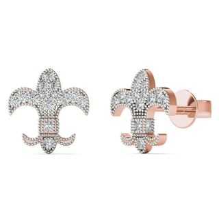 AALILLY 10k Rose Gold Diamond Accent Fish Stud Earrings