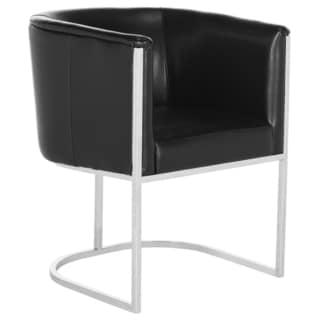 Safavieh Couture High Line Collection Shiloh Black Leather Tub Chair