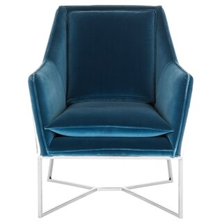 Safavieh Couture High Line Collection Evrex Royal Blue Velvet Glam Club Chair
