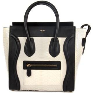 Celine Micro White Python Embossed Black Leather Handbag