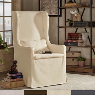 SIGNAL HILLS Potomac Slipcovered Wingback Host Chair (As Is Item)