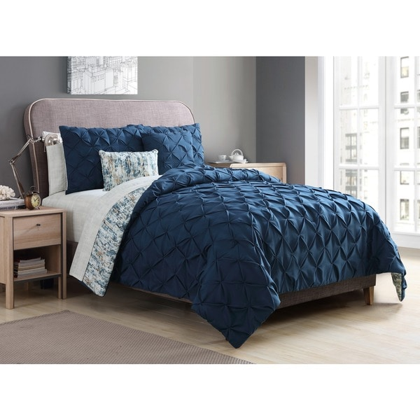 VCNY Home Rain Pintucked Reversible Bed in a Bag Set with Sheets