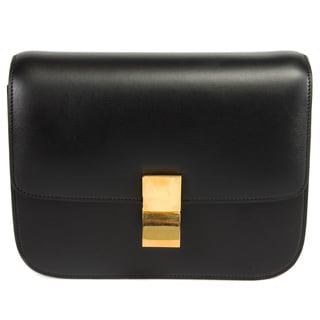 Celine Box Classic Medium Black Calfskin w/ Gold Hardware Shoulder Handbag