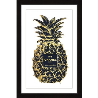Marmont Hill - 'Pineapple Black Gold' by Amanda Greenwood Framed Painting Print