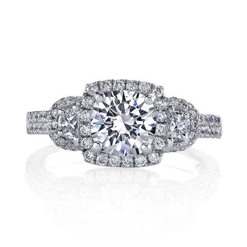 Lihara and Co. 18KW 3/4ct TDW Semi-Mount Diamond Engagement Ring - White G-H