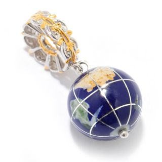 Michael Valitutti Palladium Silver Lapis Lazuli & Multi Gem Inlay Globe Drop Charm
