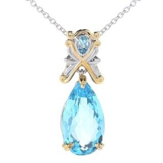 Michael Valitutti Palladium Silver Pear Shaped Swiss Blue Topaz Pendant with Chain